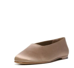 Vince Maxwell Women's Leather Ballet Flat Satin Shoes, Gold brown 8 msrp $225