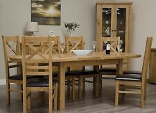 Regent solid oak furniture oval extending dining table and six chairs set