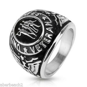 """Stainless Steel """"United States Veteran"""" Class Ring Style Wide Cast Ring"""
