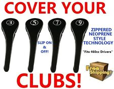NEW BLACK DRIVERS GOLF CLUB HEAD COVERS HEADCOVER FULL COMPLETE 3 5 7 9 WOOD SET