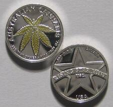 1/10th Troy Oz .999 Solid Fine Silver Gold Leaf Australian Cannabis Coin w/free