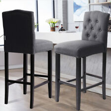 Kitchen Fabric Bar Stools Footrest Footstool Padded Seat Buttoned Back Dark Grey
