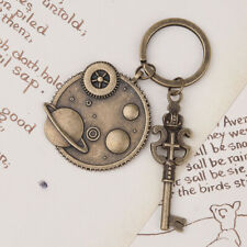 ONE LARGE QUALITY ANTIQUE BRONZE STEAMPUNK GALAXY KEY RING~Cogs~Gears~Keys (75G)