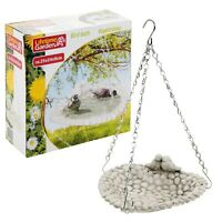Ceramic Hung Bird Bath Feeder Outdoor Garden Decor Ornament Leaf Patio White