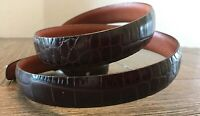 "Ralph Lauren Brown Italian Leather Belt 3/4""W Solid Brass Buckle Small Faux Croc"