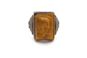 Vintage Sterling Silver Carved Tiger Eye Cameo Warrior Knight Ring Size 10.5