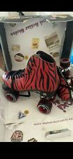 Moxi Red/Black Zebra Roller Skates, Size 9