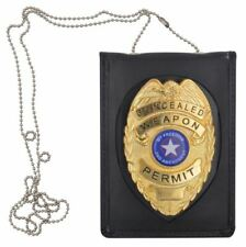 Security Enforcement Officer Plate Genuine Leather Neck Badge and ID Holder