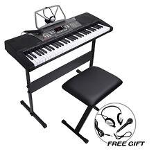61 Key Electronic Keyboard Piano Organ w/Microphone+Stand+Stool+Earphone Black