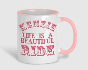 Life Is A Beautiful Ride Inspiring Graduation Personalised Pink Mug Gift