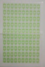 PAKISTAN Revenue Stamps for Entertainment Tax complete sheet of 100 stamps MNH.