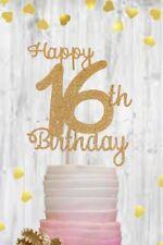 Gold 16 sixteen glitter cake topper birthday party celebration decoration
