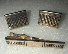 Vintage Swank Cufflinks  And Tie Clip Set Gold