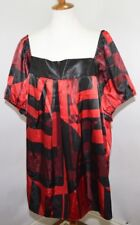 VTG NWT Lane Bryant Venezia Red Black Drop Collar Top Made in USA Womens 22/24