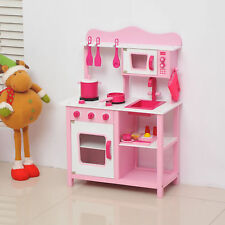 HOMCOM Kids Pink Wooden Play Kitchen Children's Role Play