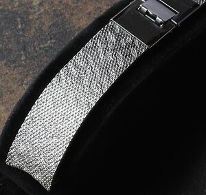Unique pattern steel mesh 17.3mm wide curved ends vintage watch band NOS 1960s