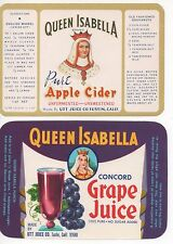 'QUEEN ISABELLA' 1920s KNOTTS BERRY FARM LABEL EARLY PACKER IN ORANGE CO CA-----