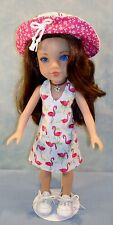 14 Inch Doll Clothes - Flamingo Halter Sundress and Hat handmade by Jane Ellen