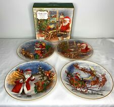 Pottery Barn Santa Journey Dinner Plates Set of 4 Assorted Christmas 10.75""