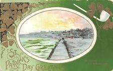 ST. PATRICK'S DAY HOLIDAY IRELAND TRAMORE WATERFORD COUNTY POSTCARD 1912 170