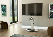 Mahara TV Stand with Swivel VESA Bracket, Silver, with White Glass up to 55""