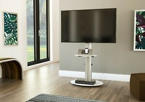 """Mahara TV Stand with Swivel VESA Bracket, Silver, with White Glass up to 55"""""""
