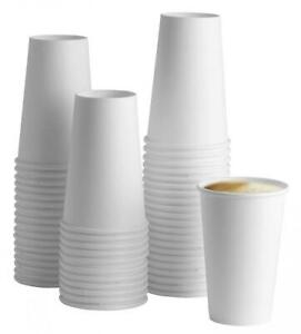[100 Pack] 16 oz. White Paper Hot Cups - Coffee 16 oz.,