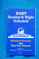 Bart Sunday & Night Schedule - 12/1/79 to 3/80 - San Francisco - Oakland