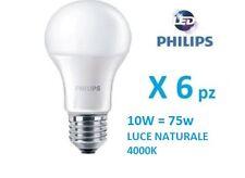 Set 6 pezzi Philips Lampada LED E27 10W 75w luce naturale  4000K  1055 lumen