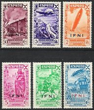 SPANISH IFNI 1943 BENEFICENCIA OVPT 7 - 12 ZEPPELIN PLANE TRAIN HORSE - MNH