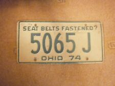 AMERICAN OHIO VINTAGE 1974 SEAT BELTS FASTENED ? # 5065 J RARE NUMBER PLATE