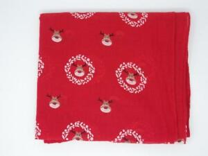 RUDOLPH THE RED NOSE REINDEER WITH HOLLY WREATHS RED SCARF / SHAWL