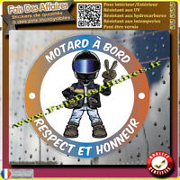 Stickers Autocollant motard a bord respect et honneur decal motorcycle