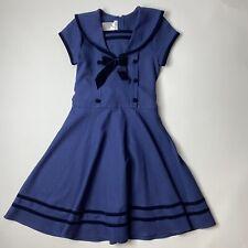 Bonnie Jean Sz 12 Girls Blue Sailor Dress Modest Midi Church