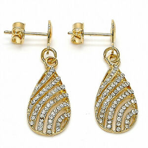 New 9CT Gold filled Dangle Earring, Teardrop & Heart Design & White Crystals 225