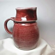 "Studio Art Pottery Red Pitcher THE PHOENIX BIG SUR 7-1/2"" Hand Thrown Signed USA"
