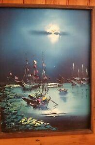 Framed Robert Lo Fishing/Junk Boats Original Painting