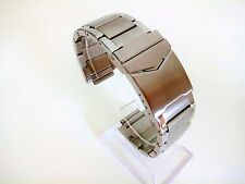Mens Accurist Watch Stainless Steel Bracelet Strap Safety Buckle Curved End 24mm