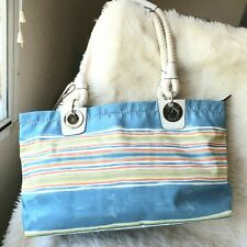 Coach Shoulder Bag, Nautical Beach Med/Large Blues, Coral, Green Turquoise White