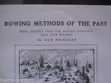 Rowing Methods of Past Oxford University Boat Club Rare Old Antique Article 1908