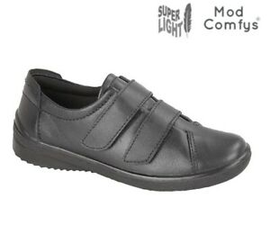 Ladies Black Softie Leather Flat Comfy Casual shoes Size 3-8 uk