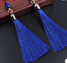 Earring Boho Festival Party Boutique Uk Blue Luxury Long Drop Tassel Fashion