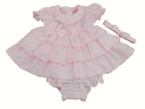 BNWT Baby girls spanish style frilly broderie anglaise summer dress knickers set