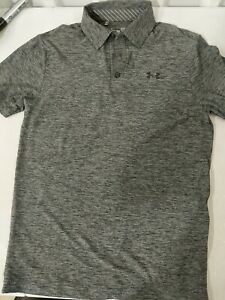 Under Armour Mens Heatgear S/S Polo Shirt Size Small Heathered Gray Collared USE