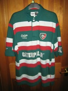 Leicester Tigers Cotton Traders 2009-11 SIGNED Home Rugby Shirt - Men's Large
