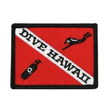 "Scuba Souvenir ""Dive Hawaii"" Patch Island Vacation Destination Iron-On Applique"