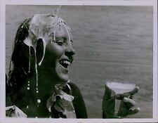 LG848 '78 Original Photo ANNA FUGINA Open Water Swimmer Drinking Champagne Glass