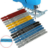 14pc Assorted Metal Steel T-shank Jigsaw Blade Set Fitting For Plastic Wood Kit