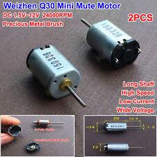 2PCS Micro Precious Metal Brush Motor DC 12V 24000RPM Wide Voltage Long Shaft