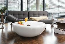Couchtisch Wohnzimmertisch Tisch Rund Hochglanz weiß aus Fiberglas Ø 100 cm